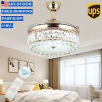 """42""""Crystal Light LED Ceiling Fan Invisible Blade Chandelier Remote Home Decor US"""