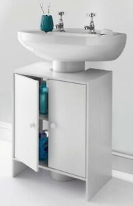 NEW White Bathroom Sink Cabinet Under Basin Unit Cupboard Storage - *CHEAPEST*