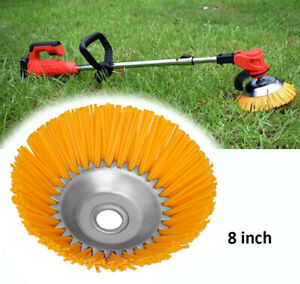 8 Inch Grass Strimmer Head Trimmer Brush Solid Nylon Wire Wheel Garden Weed Lawn