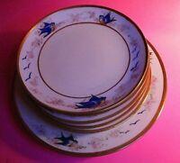 """LOT (7) LIMOGES AKD France Plate Blue Birds w Gold Signed LUKEN 6.5"""" to 9"""" Salad"""