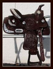 "8"" Showman Full Silver Show Tooled Leather Western Kids Mini Pony Saddle Dk Tan"