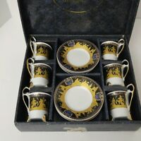Vintage Studio Designs Demitasse Cups Saucers Cobalt Gold Encrusted Set of 6