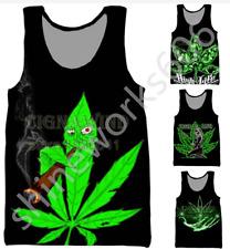 Green Weed series3D Print Sleeveless Tank Top Summer Men Women Singlet Vest Tees