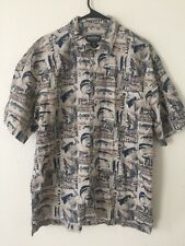 Classic Woolrich Mens Fishing Camp Short Sleeve Outdoor Pocket LAPIS Fish Large