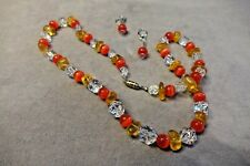 Antique 5-Star Rock Crystal/Clear Quartz~Red Cat's Eye~Yellow Necklace & Earring