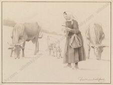 "Ferdinand Karl Gold (b.1882) ""At Pasture"", Drawing, Early 20th Century"