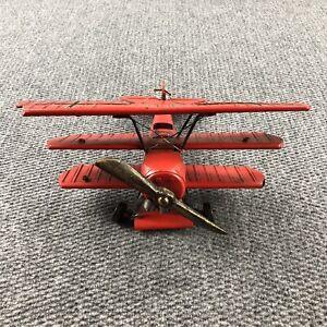 Vintage Metal Red Baron Fokker Dr1 Dreidecker Tri-Plane Tin Toy WWI