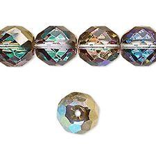 1496 Czech Fire Polished Faceted Beads Blue Gold 12mm  *UK EBAY SHOP*
