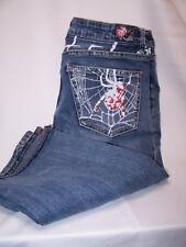 Pepe Jeans London Denim Con Street Wear Glitter Spider Webs Goth CAPRI 32 x 18