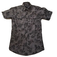 Mens Floral Button Shirt Small Chambray Gray Subculture Roses Skater Cotton Goth