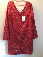 Red Satin Floral Buttoning Shirt Dress BNWT. Tall Size 18. Glamorous Brand.