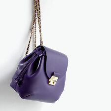 ZARA WOMAN PURPLE GOLD LEATHER CHAIN STRAP METAL CLASP BACKPACK BAG £79!