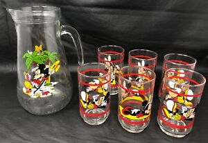 Disney Seven 7 Piece Glassware Set Mickey And Minnie Mouse