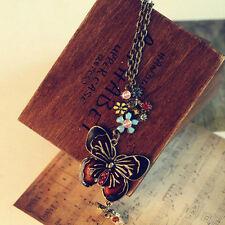 Vintage Butterfly Enamel Rhinestone Crystal Sweater Chain Long Pendant Necklace
