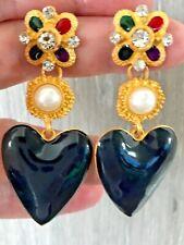 BLUE ENAMEL HEART PEARL FLOWER RHINESTONE CABOCHON Zara LOOK DROP DANGLE EARRING