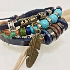 New Tribal Bronze Feather Turquoise beads Leather Bracelet Surfer adjustable