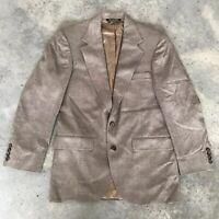 Brooke & Deane Taupe Herringbone Harvard Wool Silk Blazer Jacket 38 Reg 38R 38 R