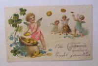 Geburtstag, Engel, Sack, Münzen, Kleeblatt, 1906, Prägekarten ♥ (40381)
