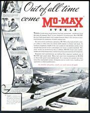 1935 streamlined modern train plane bus car art Mo-Max Steel vintage print ad