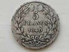 1840 France - 5 Francs - Strasbourg Mint BB - Collectable .