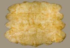 100% Natural Genuine Sheepskin Rug Eight Pelts Ivory Brown Tipped Fur 7 x 5