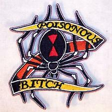 POISONOUS BITCH EMBRODIERED PATCH black widow P566 new bikers novelty patches