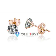 18K Rose Gold Plated Austrian Crystal 1CT Simulated Diamond Studs Earring