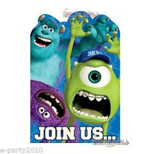 MONSTERS UNIVERSITY INVITATION SET (8) ~ Inc Birthday Party Supplies Sulley Mike