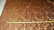 Brown Beige Victorian Print Cut Chenille Upholstery Fabric Remnant F1056