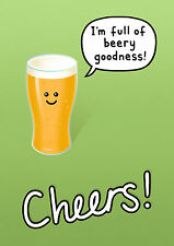 Genki Gear Cheers Full Of Beery Goodness Beer Pint Comedy Cartoon A3 Wall Poster