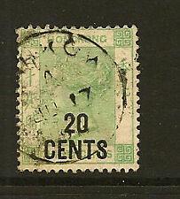 Hong Kong: 1 891 - 20 CENTESIMI SU 30c yellowish-green SG 45 usato