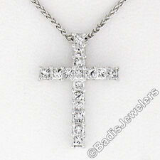 New 18K White Gold 0.47ctw Princess Prong Diamond Slide Cross Pendant w/ Chain