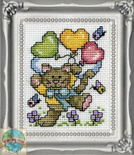 Cross Stitch Kit Design Works Whimsical Balloon Cat Picture w/Frame & Mat #DW604