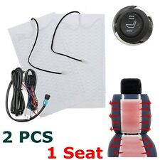 2Pcs Car Carbon Fiber Heated Seat Heater Pad w/ Hi/Lo Switch 12V Kit Universal