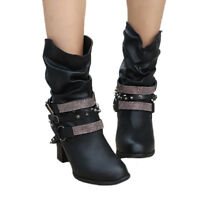 Womens Leather Ankle Boots Ladies Mid High Block Heels Chunky Buckle Shoes Size