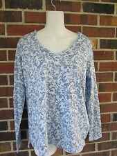 NWT Ladies Med Sleep Shirt JP Top Light Blue Paisly Floral Cotton Charter Club