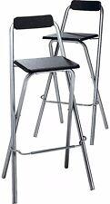 Black Breakfast Bar Stools 2 Tall Folding Kitchen Chairs Set Pub Bar Pair Metal