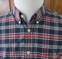 SOS SPORTSWEAR of SWEDEN Mens sz L Red Blue Plaid L/S Button Front/Down Shirt