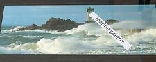 Tempête bretonne vague phare mer Bretagne poster photo couleurs panoramique 67cm