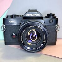 RETRO OLYMPUS OM-4 35MM SLR CAMERA W/ 50mm f1.8 Lens New Seals! Lomo Film Tested