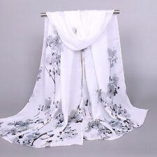 Women Fashion Scarf Peach Pattern Print Chiffon Scarf Ladies Warm Wrap Shawl