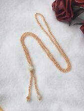 Handmade Champagne Glass Crystals Ladies Long Beaded  Lariat fashion necklace