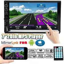 "7"" Double 2DIN Car MP5 Bluetooth Touch Screen Stereo AM Radio Mirrorlink For GPS"