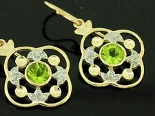 E051 - LOVELY Genuine 9ct SOLID Gold NATURAL Peridot & Diamond Drop EARRINGS