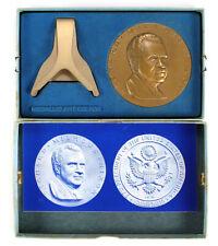 Richard Nixon 1969 Vintage 6 oz. Bronze Inaugural Medal w/ Box & Stand by MACO