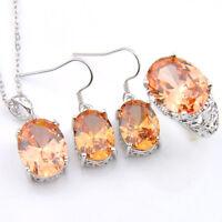 Wholesale Set 3 Pcs Natural Honey Morganite Gems Silver Pendant Earrings Rings