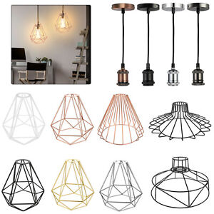 Retro Pendant Light Shade Ceiling Industrial Geometric Wire Cage Lampshade Lamp