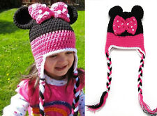 Baby Girl Mouse Bowknot Beanie Crochet Knit Long Tail Hat Fit Photo Prop Costume