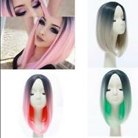 Fashion Medium Straight Gradient ramp Hair Ombre Wig Bob Cosplay Party Wigs Wig