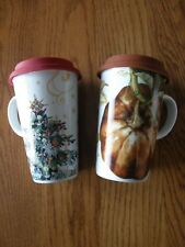 Williams Sonoma Travel Mugs-Twas the Night Reindeer/Christmas Tree, Fall/Pumpkin